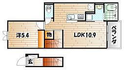 福岡県北九州市小倉南区下南方2丁目の賃貸アパートの間取り
