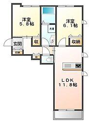 giada alloggio[1階]の間取り