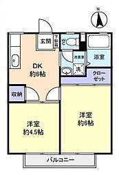 富士見ハイツA[1階]の間取り