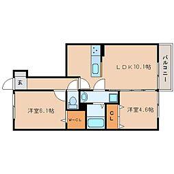 静岡県静岡市葵区長沼3丁目の賃貸アパートの間取り