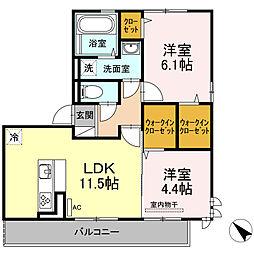 D-room可部3丁目A棟[201号室]の間取り