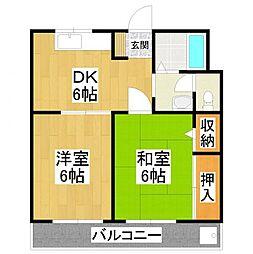 大阪府堺市美原区北余部西4丁目の賃貸マンションの間取り