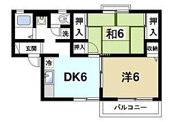 サンリッチ 2階2DKの間取り