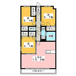グランドラインII 4階3LDKの間取り