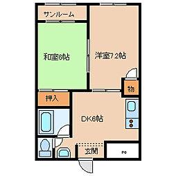 ツインシャンテ[2階]の間取り