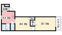 パレ北昭和[201号室]の間取り