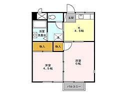 コスモシティ岡野 B棟[201号室号室]の間取り