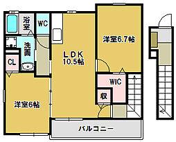 三重県鈴鹿市白子町の賃貸アパートの間取り