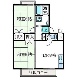 大阪府高槻市唐崎中4丁目の賃貸アパートの間取り