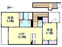 岡山県倉敷市船穂町船穂の賃貸アパートの間取り