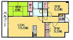 スカイハイツ21[5階]の間取り