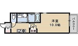 Osaka Metro御堂筋線 長居駅 徒歩4分の賃貸マンション 3階1Kの間取り