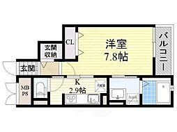 大阪モノレール 南摂津駅 バス7分 下鳥飼下車 徒歩9分の賃貸マンション 3階1Kの間取り