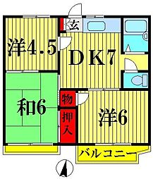 埼玉県越谷市瓦曽根3丁目の賃貸アパートの間取り