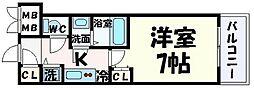 神戸新交通ポートアイランド線 貿易センター駅 徒歩2分の賃貸マンション 13階1Kの間取り