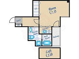 W.O.B FUKUSIMA 9階ワンルームの間取り