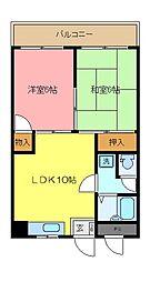 神奈川県横浜市磯子区栗木3丁目の賃貸マンションの間取り