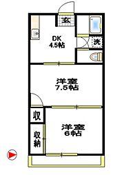 コーポ徳延II[3階]の間取り