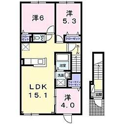 ベラージオ 2階2LDKの間取り