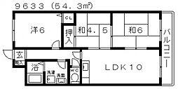 パラストオカザワ[2C号室号室]の間取り