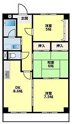 愛知県豊田市平山町6丁目の賃貸マンションの間取り