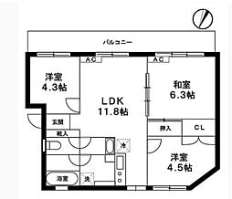 鶴ヶ峰駅徒歩6分 柄本マンション[201号室]の間取り