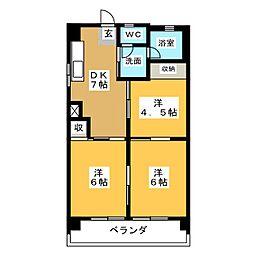 津島サンハイツ[3階]の間取り