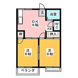 コーポ三本池A棟[2階]の間取り