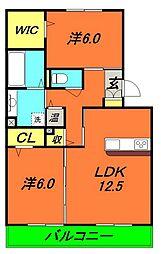 Osaka Metro谷町線 守口駅 徒歩11分の賃貸アパート 2階2LDKの間取り