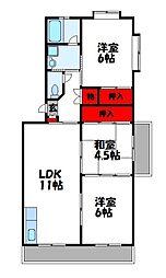 西鉄貝塚線 三苫駅 徒歩6分の賃貸マンション 3階3LDKの間取り