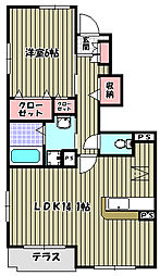 大阪府大阪狭山市茱萸木4丁目の賃貸アパートの間取り