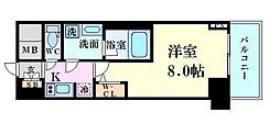 Osaka Metro御堂筋線 梅田駅 徒歩5分の賃貸マンション 14階1Kの間取り