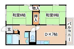 兵庫県明石市上ノ丸3丁目の賃貸アパートの間取り