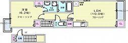 仙台市営南北線 長町南駅 徒歩26分の賃貸アパート 2階1LDKの間取り