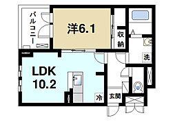 ラ・フルレックス 2階1LDKの間取り