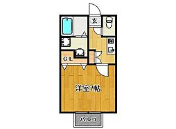 JR長崎本線 神埼駅 岩田下車 徒歩15分の賃貸アパート 2階1Kの間取り