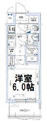 グランカリテ大阪城イースト 2階1Kの間取り