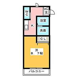 レジスタII 1階1Kの間取り