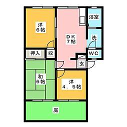 アーバンハイツ B棟[1階]の間取り