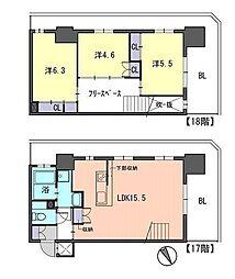 福岡市地下鉄七隈線 天神南駅 徒歩3分の賃貸マンション 17階3LDKの間取り