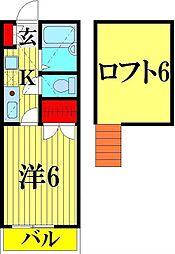 埼玉県越谷市瓦曽根3の賃貸アパートの間取り