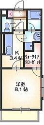 ラ・フォーレ呉竹[203号室]の間取り