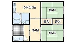 大阪府貝塚市半田の賃貸アパートの間取り