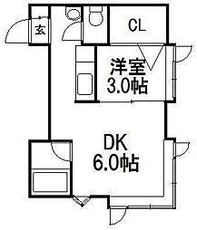 ローヤルハイツ南5条[2階]の間取り