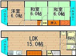 [テラスハウス] 大阪府大阪市西区南堀江4丁目 の賃貸【/】の間取り