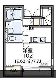 JR高崎線 宮原駅 徒歩22分の賃貸アパート 1階1Kの間取り