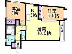 ノヴァウイング東札幌 2階2LDKの間取り