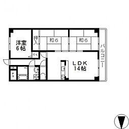 ヒルズ東大阪[302号室号室]の間取り
