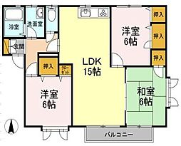 愛媛県松山市東野6丁目の賃貸アパートの間取り