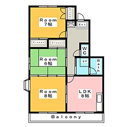 サンオークスリサ A棟[1階]の間取り